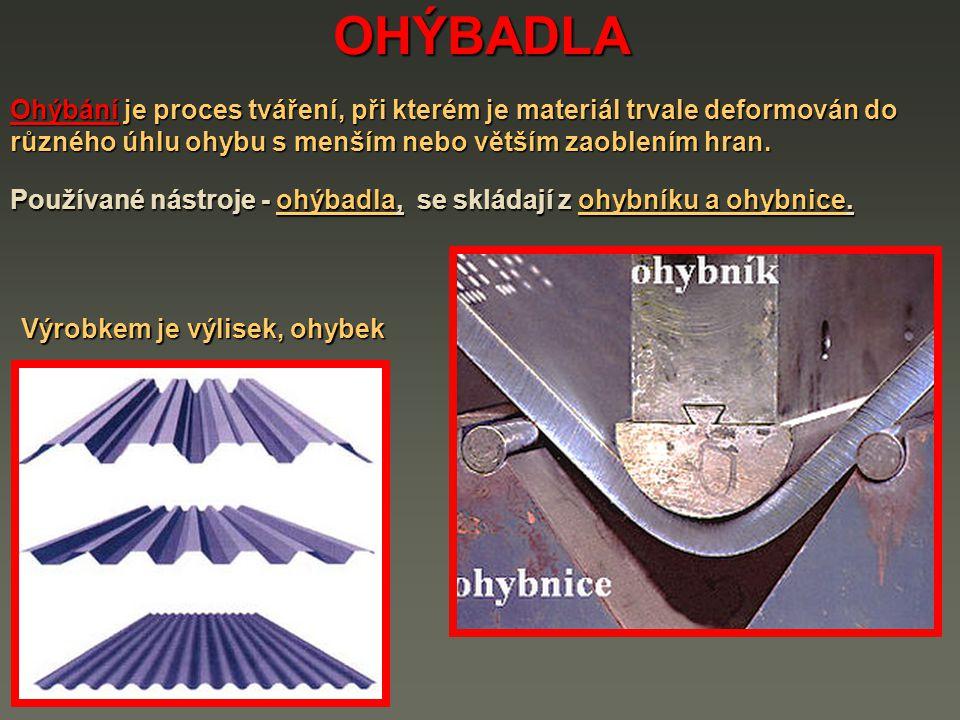 OHÝBADLA Ohýbání je proces tváření, při kterém je materiál trvale deformován do různého úhlu ohybu s menším nebo větším zaoblením hran.