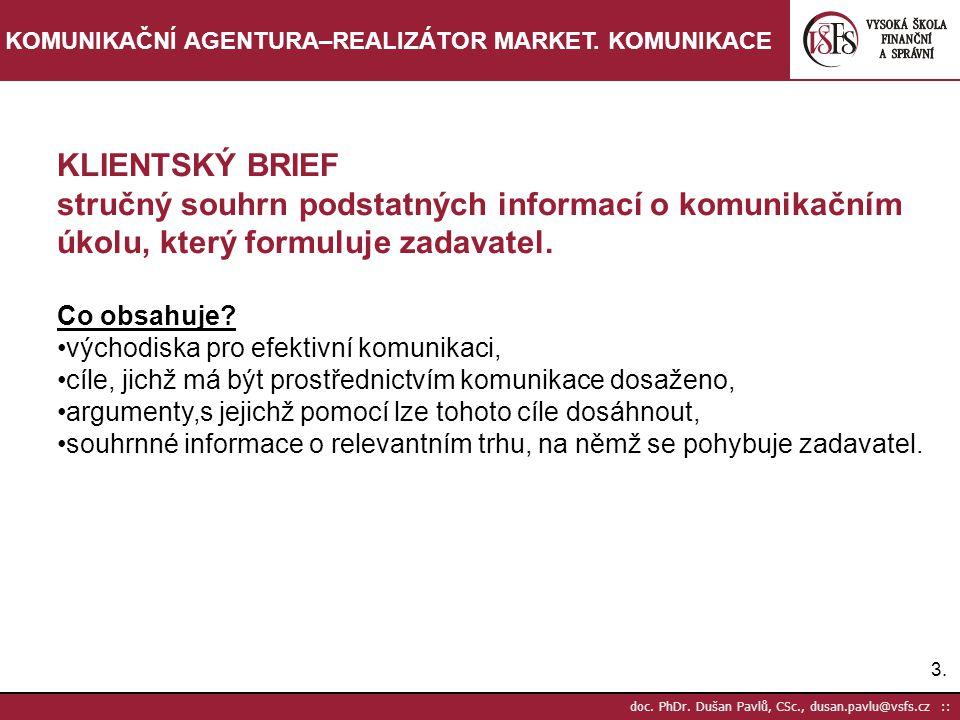 14.doc. PhDr. Dušan Pavlů, CSc., dusan.pavlu@vsfs.cz :: KOMUNIKAČNÍ AGENTURA–REALIZÁTOR MARKET.