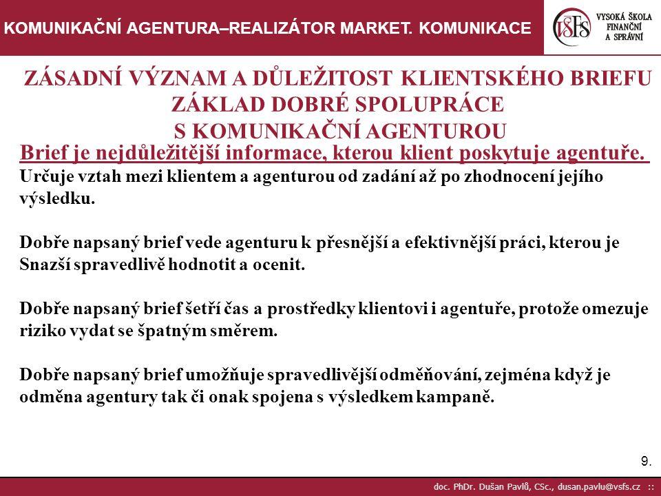 30.doc. PhDr. Dušan Pavlů, CSc., dusan.pavlu@vsfs.cz :: KOMUNIKAČNÍ AGENTURA–REALIZÁTOR MARKET.