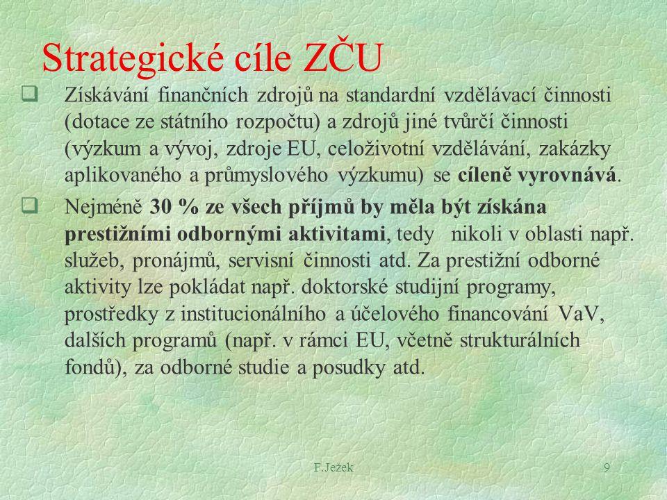 F.Ježek9 Strategické cíle ZČU  Získávání finančních zdrojů na standardní vzdělávací činnosti (dotace ze státního rozpočtu) a zdrojů jiné tvůrčí činno