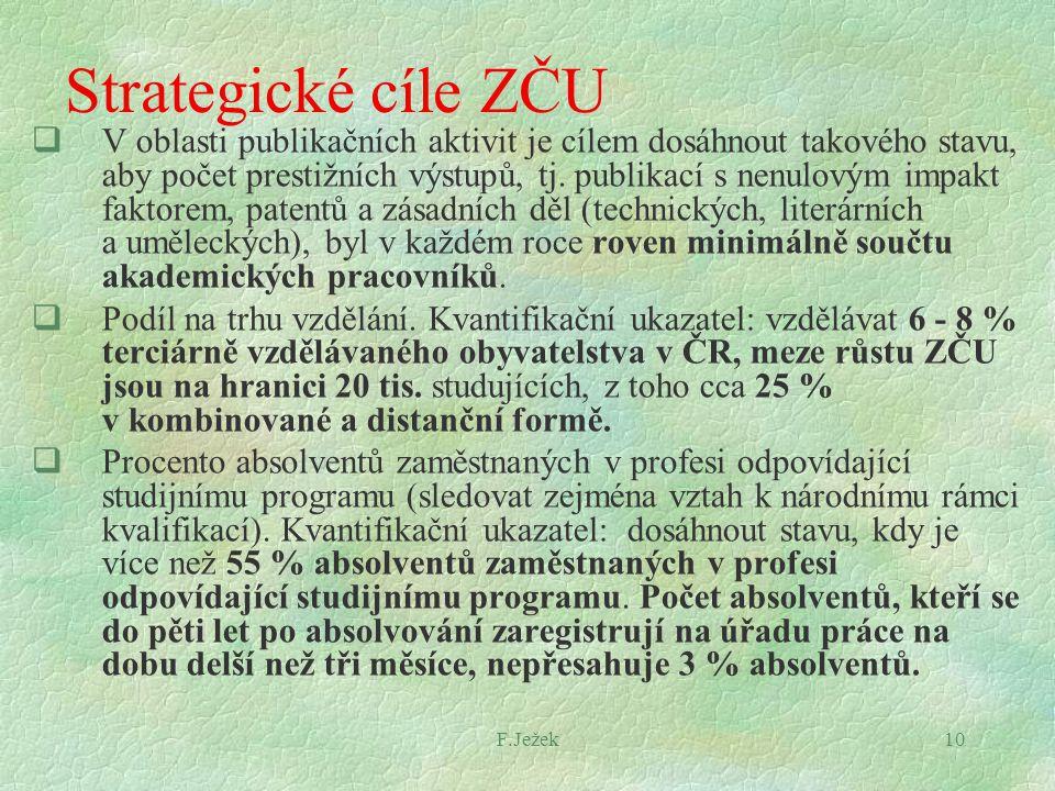 F.Ježek10 Strategické cíle ZČU  V oblasti publikačních aktivit je cílem dosáhnout takového stavu, aby počet prestižních výstupů, tj. publikací s nenu