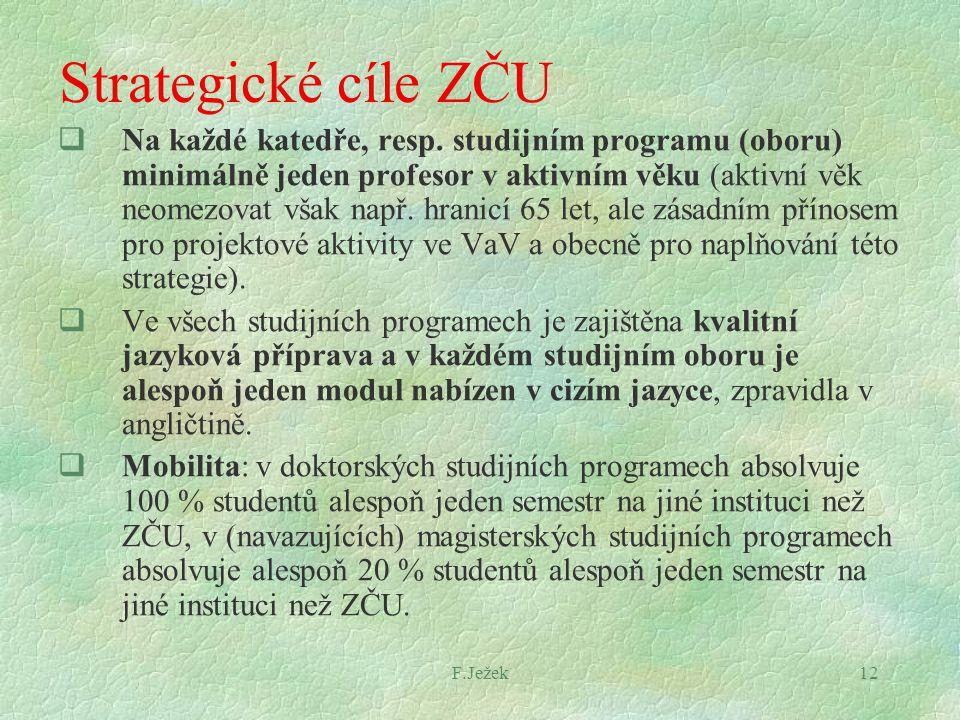 F.Ježek12 Strategické cíle ZČU  Na každé katedře, resp. studijním programu (oboru) minimálně jeden profesor v aktivním věku (aktivní věk neomezovat v