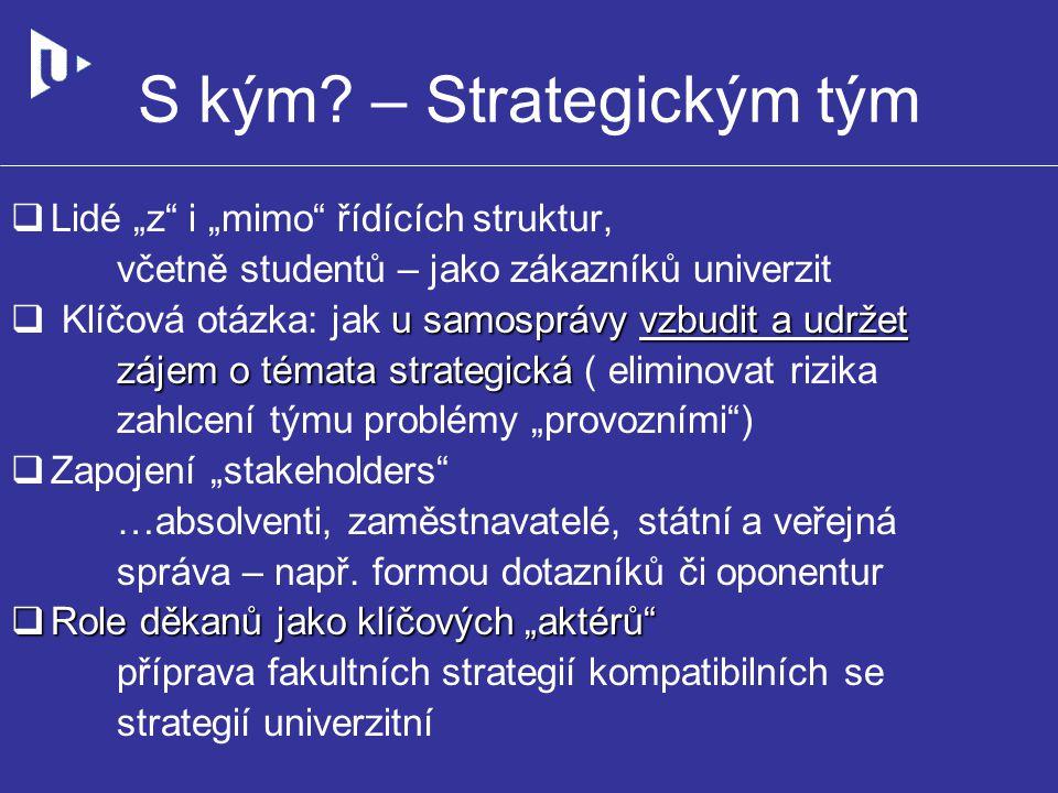 """S kým? – Strategickým tým  Lidé """"z"""" i """"mimo"""" řídících struktur, včetně studentů – jako zákazníků univerzit u samosprávy vzbudit a udržet zájem o téma"""