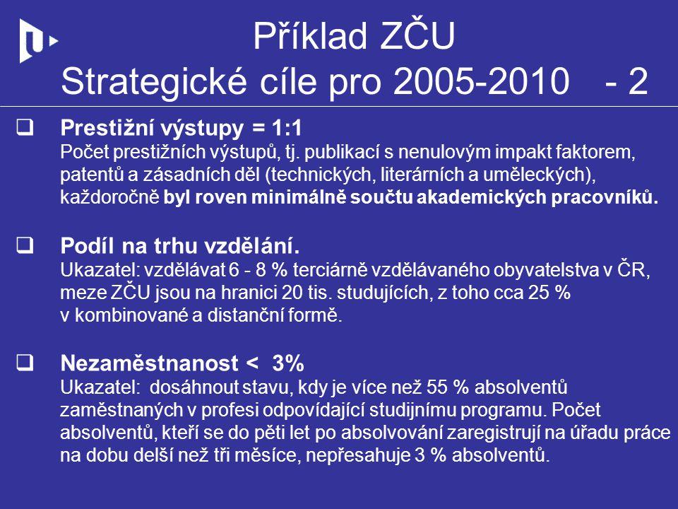 Příklad ZČU Strategické cíle pro 2005-2010 - 2  Prestižní výstupy = 1:1 Počet prestižních výstupů, tj. publikací s nenulovým impakt faktorem, patentů