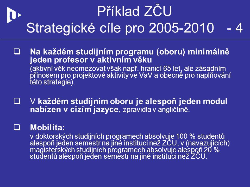Příklad ZČU Strategické cíle pro 2005-2010 - 4  Na každém studijním programu (oboru) minimálně jeden profesor v aktivním věku (aktivní věk neomezovat