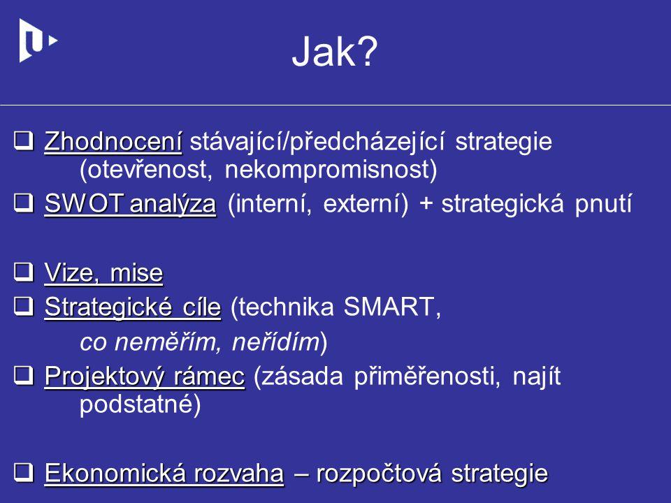 Jak?  Zhodnocení  Zhodnocení stávající/předcházející strategie (otevřenost, nekompromisnost)  SWOT analýza  SWOT analýza (interní, externí) + stra