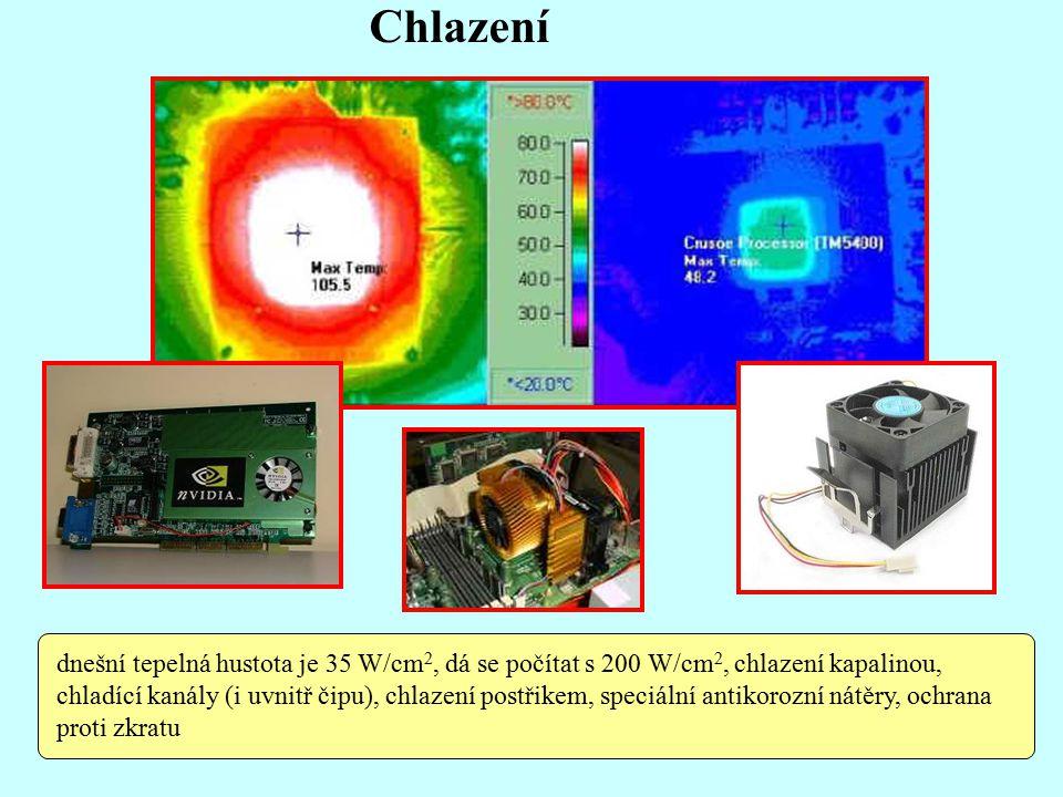 Chlazení dnešní tepelná hustota je 35 W/cm 2, dá se počítat s 200 W/cm 2, chlazení kapalinou, chladící kanály (i uvnitř čipu), chlazení postřikem, speciální antikorozní nátěry, ochrana proti zkratu