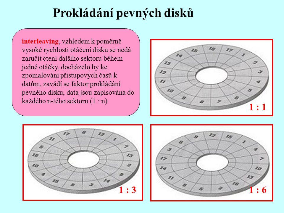 1 : 1 1 : 61 : 3 Prokládání pevných disků interleaving, vzhledem k poměrně vysoké rychlosti otáčení disku se nedá zaručit čtení dalšího sektoru během jedné otáčky, docházelo by ke zpomalování přístupových časů k datům, zavádí se faktor prokládání pevného disku, data jsou zapisována do každého n-tého sektoru (1 : n)