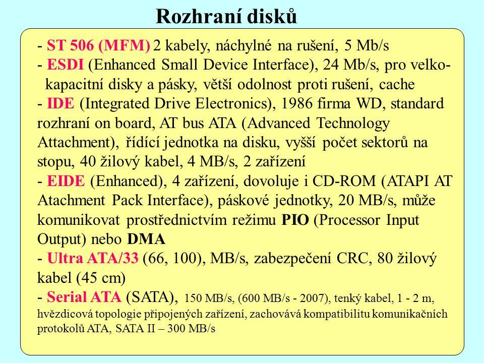 - ST 506 (MFM) 2 kabely, náchylné na rušení, 5 Mb/s - ESDI (Enhanced Small Device Interface), 24 Mb/s, pro velko- kapacitní disky a pásky, větší odolnost proti rušení, cache - IDE (Integrated Drive Electronics), 1986 firma WD, standard rozhraní on board, AT bus ATA (Advanced Technology Attachment), řídící jednotka na disku, vyšší počet sektorů na stopu, 40 žilový kabel, 4 MB/s, 2 zařízení - EIDE (Enhanced), 4 zařízení, dovoluje i CD-ROM (ATAPI AT Atachment Pack Interface), páskové jednotky, 20 MB/s, může komunikovat prostřednictvím režimu PIO (Processor Input Output) nebo DMA - Ultra ATA/33 (66, 100), MB/s, zabezpečení CRC, 80 žilový kabel (45 cm) - Serial ATA (SATA), 150 MB/s, (600 MB/s - 2007), tenký kabel, 1 - 2 m, hvězdicová topologie připojených zařízení, zachovává kompatibilitu komunikačních protokolů ATA, SATA II – 300 MB/s Rozhraní disků