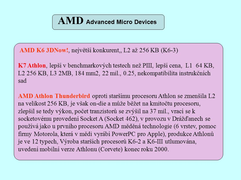 AMD K6 3DNow!, největší konkurent,, L2 až 256 KB (K6-3) K7 Athlon, lepší v benchmarkových testech než PIII, lepší cena, L1 64 KB, L2 256 KB, L3 2MB, 184 mm2, 22 mil., 0.25, nekompatibilita instrukčních sad AMD Athlon Thunderbird oproti staršímu procesoru Athlon se zmenšila L2 na velikost 256 KB, je však on-die a může běžet na kmitočtu procesoru, zlepšil se tedy výkon, počet tranzistorů se zvýšil na 37 mil., vrací se k socketovému provedení Socket A (Socket 462), v provozu v Drážďanech se používá jako u prvního procesoru AMD měděná technologie (6 vrstev, pomoc firmy Motorola, která v mědi vyrábí PowerPC pro Apple), produkce Athlonů je ve 12 typech, Výroba starších procesorů K6-2 a K6-III utlumována, uvedení mobilní verze Athlonu (Corvete) konec roku 2000.