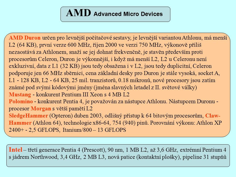 Intel Pentium II AMD Athlon Celeron