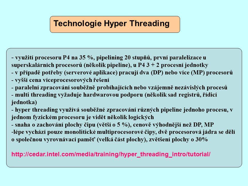Asynchronní procesory - oscilátor určující rychlost procesoru - v počátcích byly používány synchronní i asynchronní obvody, synchronní převládly z důvodu jednoduchosti návrhu, testování a ladění - taktování je stále náročnější, pulsy se dostávají obtížně k některým částem - neustále složitější a dražší řešení nastavující taktování v různých místech obvodu (hierarchie sběrnic) - synchronní obvody pracují podle své nejpomalejší části (samy hodiny) - logické obvody mohou trávit 95 % času čekáním na další takt - experimenty s mikroprocesory bez hodin, plně asynchronní nebo s lokálně taktovanými komponentami - firma Self – Timed Solution (Furber), prototypy kombinovaných čipů self – timed interconnects - asynchronní obvody jsou rychlejší, menší spotřeba, méně tepla - méně infrastruktury pro vývoj, méně znalostí - Ultra Sparc III (Sun)