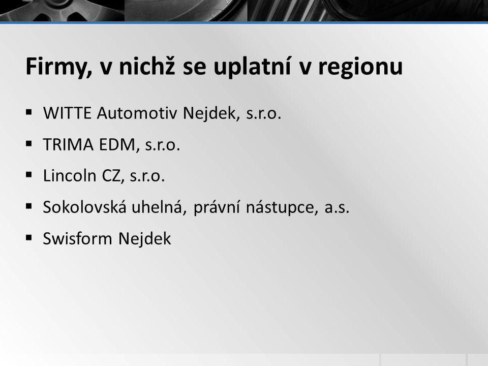 Firmy, v nichž se uplatní v regionu  WITTE Automotiv Nejdek, s.r.o.  TRIMA EDM, s.r.o.  Lincoln CZ, s.r.o.  Sokolovská uhelná, právní nástupce, a.