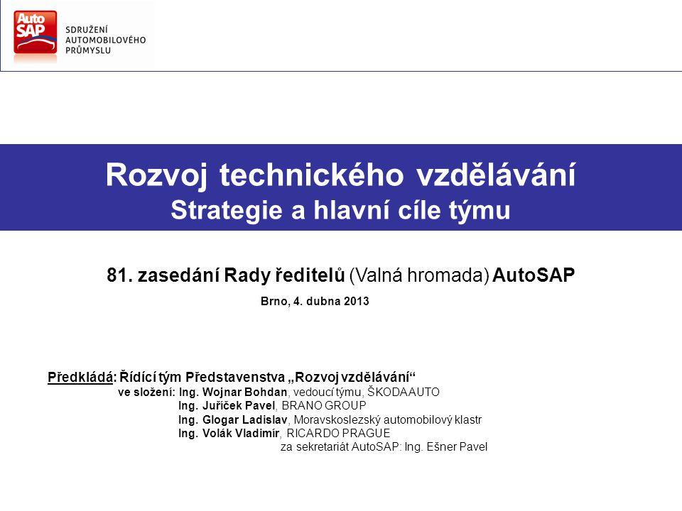 Rozvoj technického vzdělávání Strategie a hlavní cíle týmu 81. zasedání Rady ředitelů (Valná hromada) AutoSAP Brno, 4. dubna 2013 Předkládá: Řídící tý