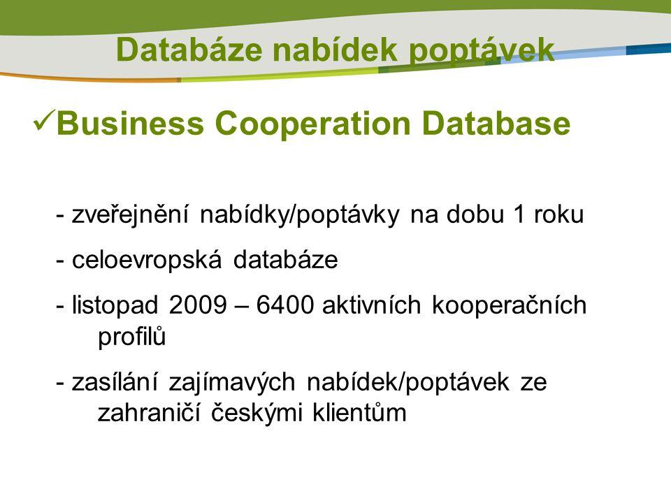 Business Cooperation Database - zveřejnění nabídky/poptávky na dobu 1 roku - celoevropská databáze - listopad 2009 – 6400 aktivních kooperačních profilů - zasílání zajímavých nabídek/poptávek ze zahraničí českými klientům Databáze nabídek poptávek
