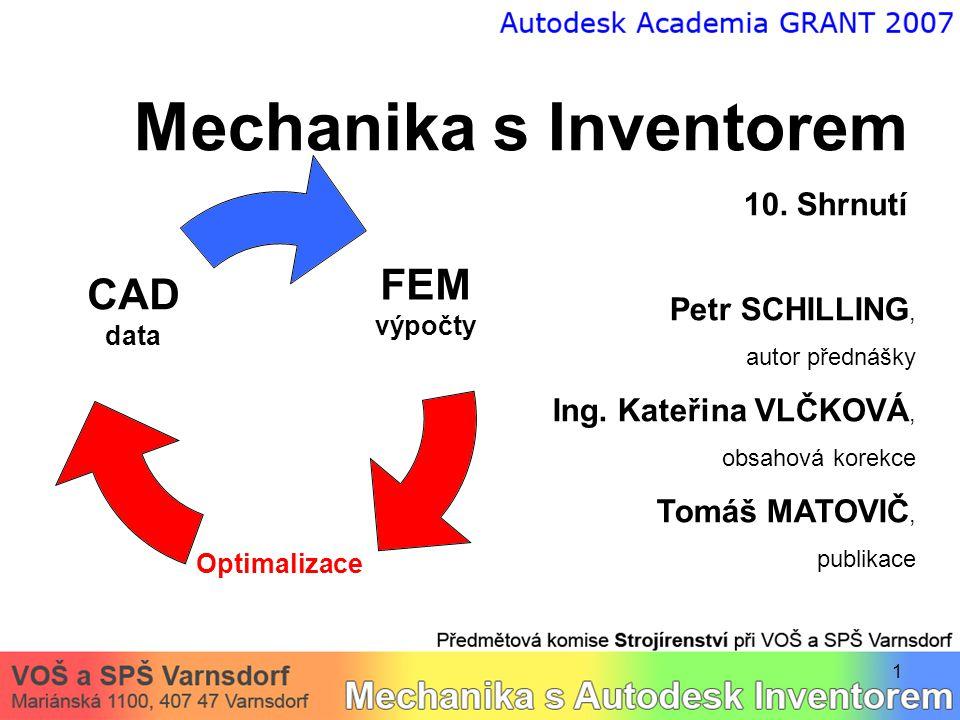 1 Mechanika s Inventorem 10. Shrnutí Petr SCHILLING, autor přednášky Ing.
