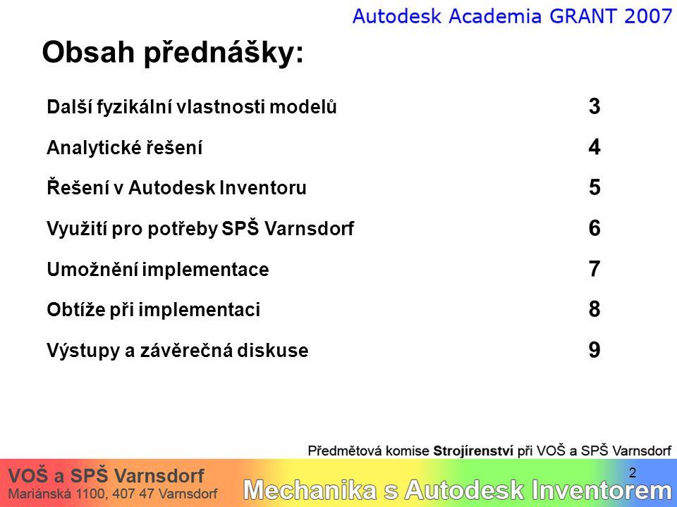 2 Obsah přednášky: Další fyzikální vlastnosti modelů 3 Analytické řešení 4 Řešení v Autodesk Inventoru 5 Využití pro potřeby SPŠ Varnsdorf 6 Umožnění implementace 7 Obtíže při implementaci 8 Výstupy a závěrečná diskuse 9