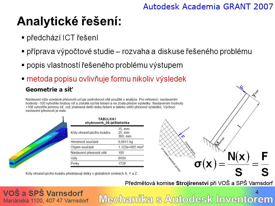 4 Analytické řešení:  předchází ICT řešení  příprava výpočtové studie – rozvaha a diskuse řešeného problému  popis vlastností řešeného problému výstupem  metoda popisu ovlivňuje formu nikoliv výsledek