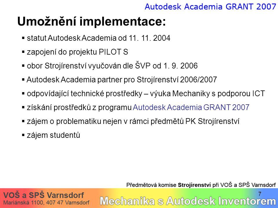 8 Implementační obtíže:  dostupnost odborné literatury  omezení plynoucí z funkcí softwaru (např.