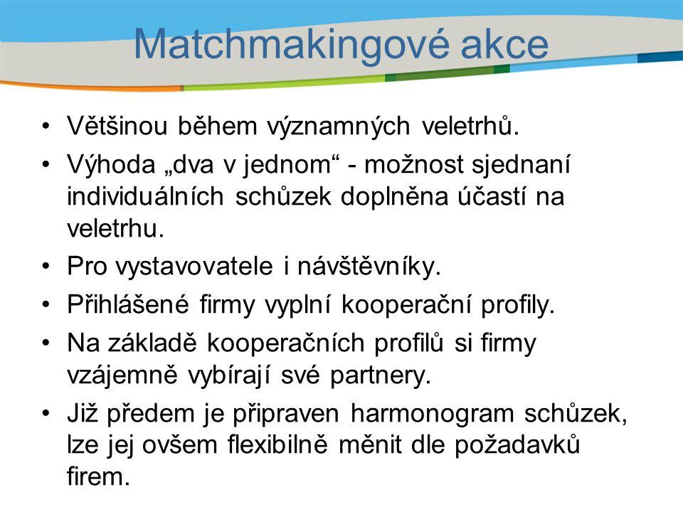 Příklady akcí v roce 2010 AkceOboryAkceObory Hannover Messe, 4/10 Hanover, Německo strojírenstvíVIENNA TEC, 10/10 Vídeň, Rakousko automatizace elektronika e-Me, 5/10 Gdyně, Polsko informační technologie LIGNUMEXPO 7/10 Nitra, SK dřevařství Pro energy, 5/10 Perpignan, Francie energetikaALIHANKINTA, 9/10 Tampere, Finsko strojírenství MSV Brno, 9/10 Brno, ČR strojírenstvíSIAL 2010, 10/10 Paříž, Francie potravinářství Bridging enterprises, 9/10 Birmingham, VB technologie šetřící ŽP Elmia Subcontractor, 11/10 Jönköping, Švédsko strojírenství, automobilový průmysl