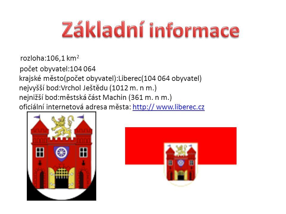 rozloha:106,1 km 2 počet obyvatel:104 064 krajské město(počet obyvatel):Liberec(104 064 obyvatel) nejvyšší bod:Vrchol Ještědu (1012 m.