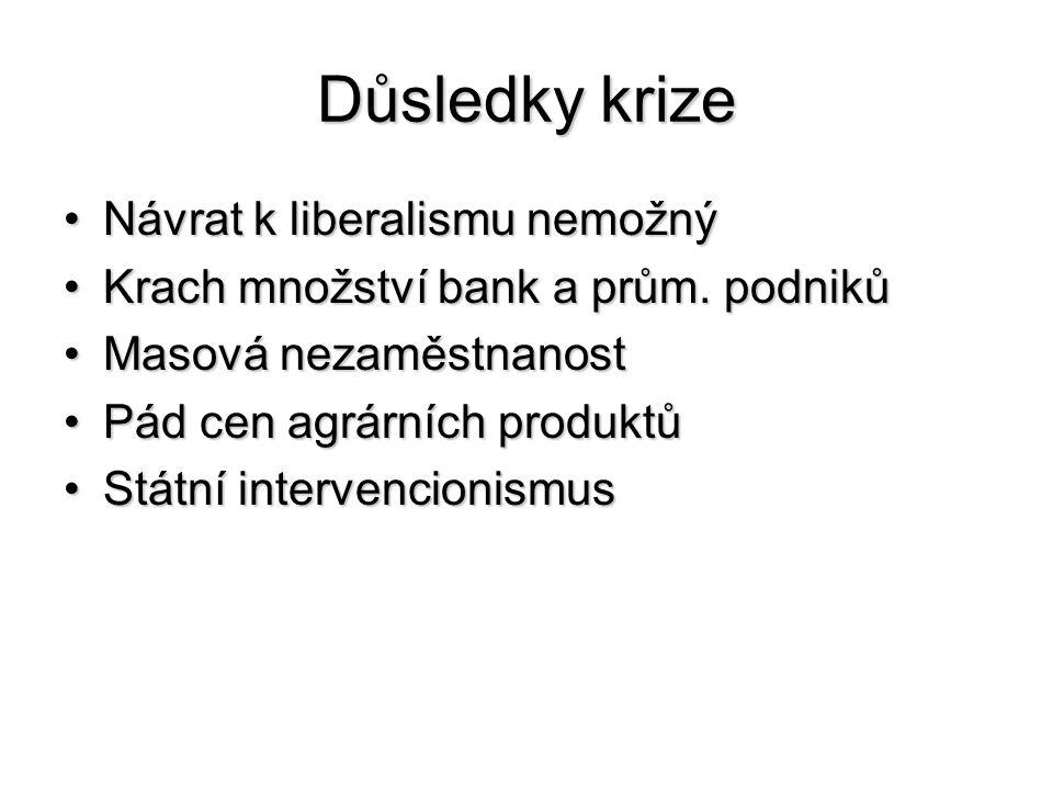 Důsledky krize Návrat k liberalismu nemožnýNávrat k liberalismu nemožný Krach množství bank a prům. podnikůKrach množství bank a prům. podniků Masová