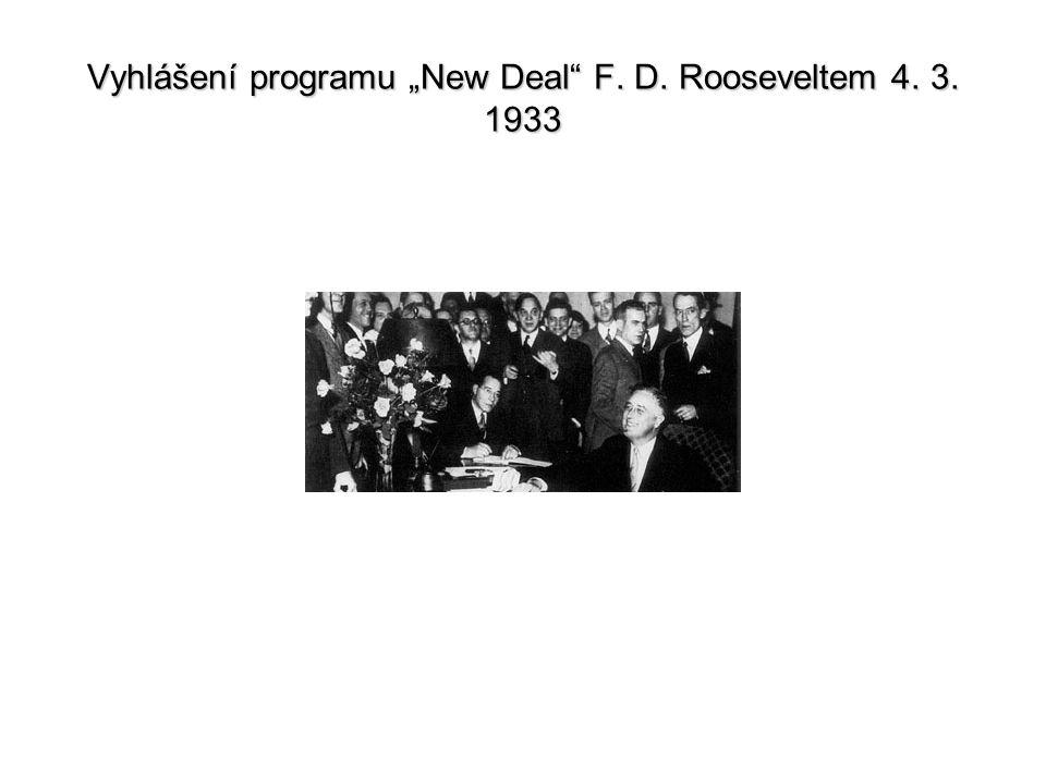"""Vyhlášení programu """"New Deal"""" F. D. Rooseveltem 4. 3. 1933"""