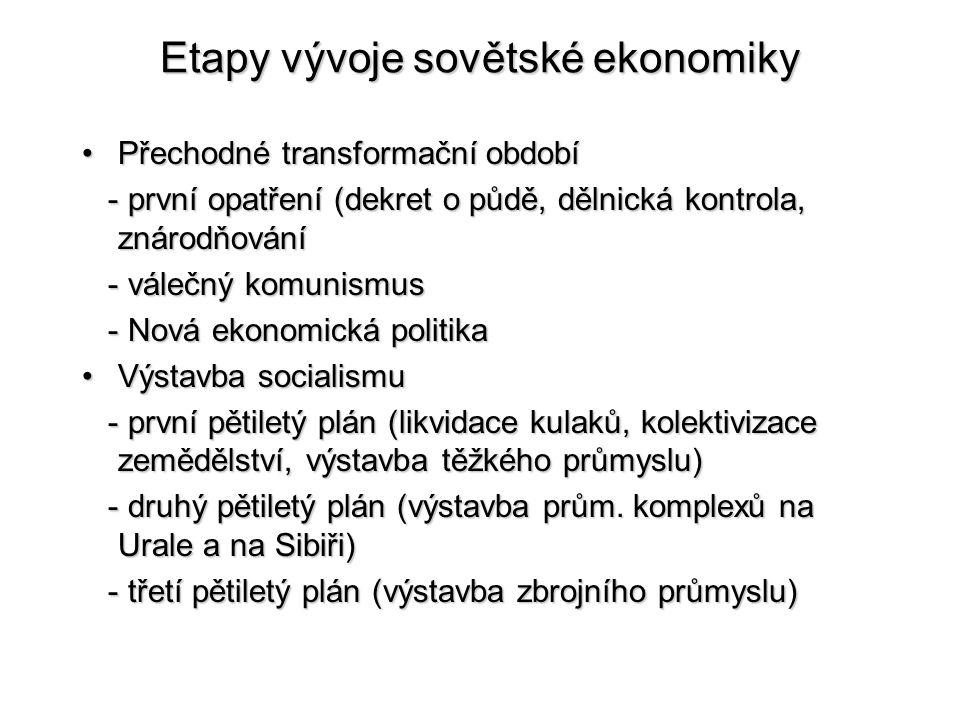 Etapy vývoje sovětské ekonomiky Přechodné transformační obdobíPřechodné transformační období - první opatření (dekret o půdě, dělnická kontrola, znáro