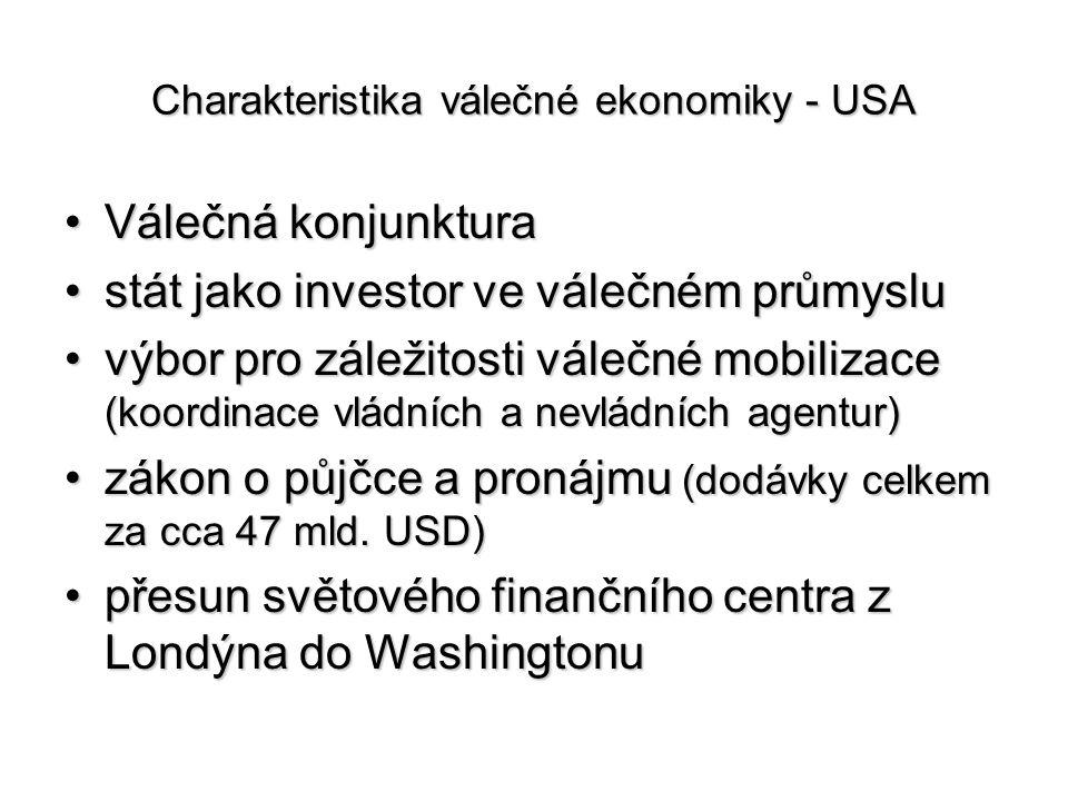 Charakteristika válečné ekonomiky - USA Válečná konjunkturaVálečná konjunktura stát jako investor ve válečném průmyslustát jako investor ve válečném p