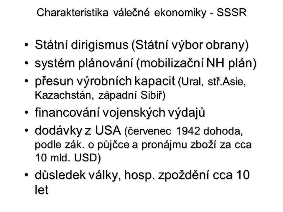 Charakteristika válečné ekonomiky - SSSR Státní dirigismus (Státní výbor obrany)Státní dirigismus (Státní výbor obrany) systém plánování (mobilizační
