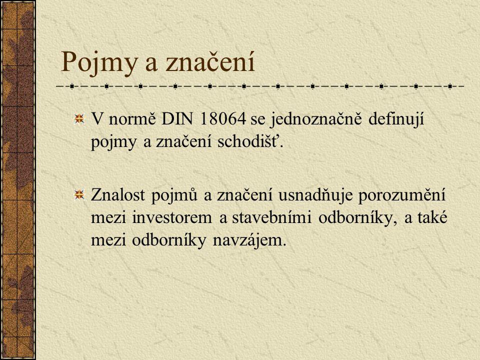 Pojmy a značení V normě DIN 18064 se jednoznačně definují pojmy a značení schodišť.