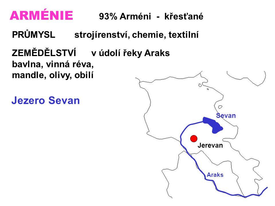 ARMÉNIE 93% Arméni - křesťané PRŮMYSL strojírenství, chemie, textilní ZEMĚDĚLSTVÍ v údolí řeky Araks bavlna, vinná réva, mandle, olivy, obilí Jezero Sevan Sevan Araks Jerevan