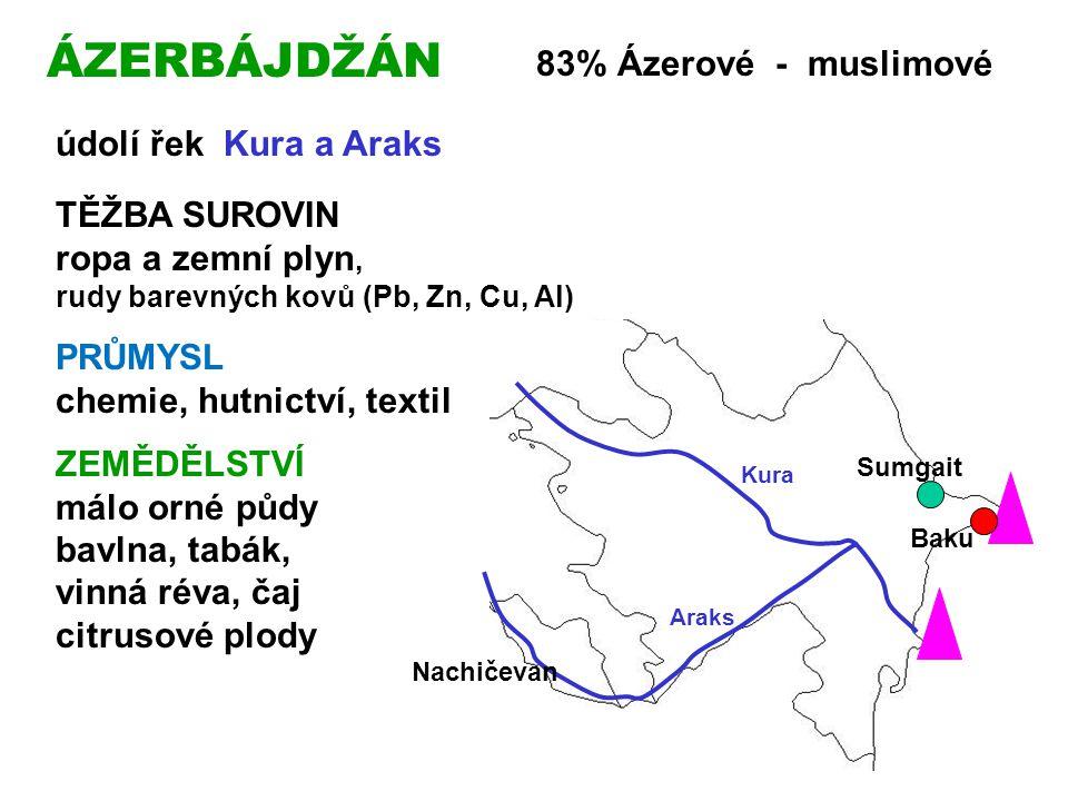 ÁZERBÁJDŽÁN 83% Ázerové - muslimové údolí řek Kura a Araks TĚŽBA SUROVIN ropa a zemní plyn, rudy barevných kovů (Pb, Zn, Cu, Al) PRŮMYSL chemie, hutnictví, textil ZEMĚDĚLSTVÍ málo orné půdy bavlna, tabák, vinná réva, čaj citrusové plody Kura Araks Baku Sumgait Nachičevan