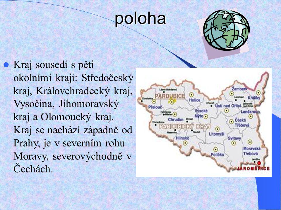 poloha Kraj sousedí s pěti okolními kraji: Středočeský kraj, Královehradecký kraj, Vysočina, Jihomoravský kraj a Olomoucký kraj.