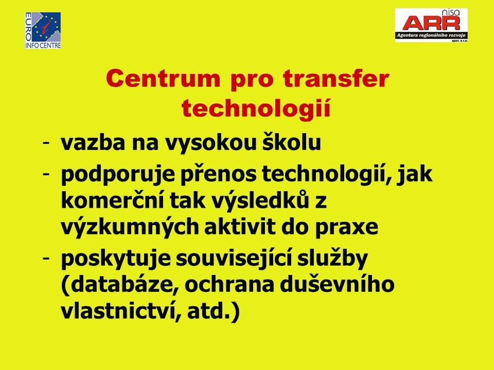 Centrum pro transfer technologií -vazba na vysokou školu -podporuje přenos technologií, jak komerční tak výsledků z výzkumných aktivit do praxe -poskytuje související služby (databáze, ochrana duševního vlastnictví, atd.)