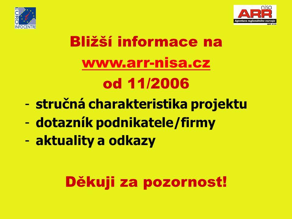 Bližší informace na www.arr-nisa.cz od 11/2006 -stručná charakteristika projektu -dotazník podnikatele/firmy -aktuality a odkazy Děkuji za pozornost!