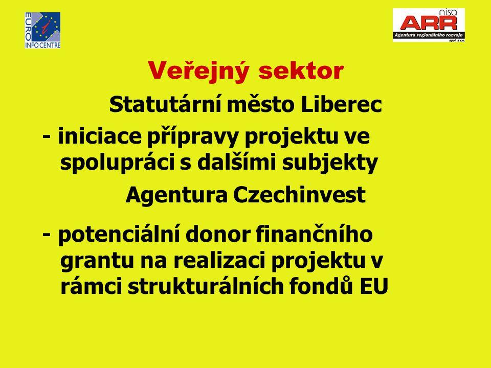 Veřejný sektor Statutární město Liberec - iniciace přípravy projektu ve spolupráci s dalšími subjekty Agentura Czechinvest - potenciální donor finančního grantu na realizaci projektu v rámci strukturálních fondů EU