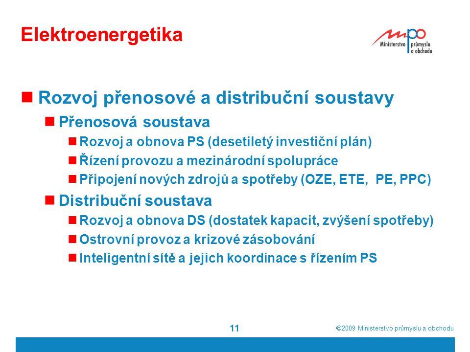  2009  Ministerstvo průmyslu a obchodu 11 Elektroenergetika Rozvoj přenosové a distribuční soustavy Přenosová soustava Rozvoj a obnova PS (desetile
