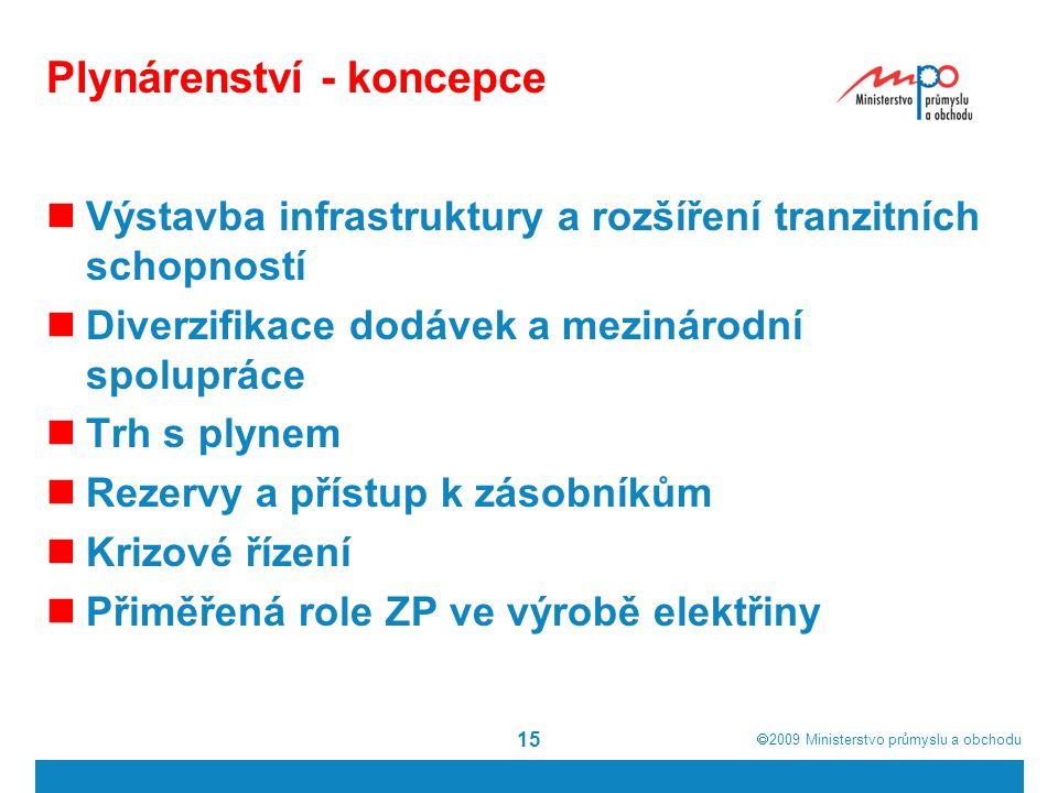  2009  Ministerstvo průmyslu a obchodu 15 Plynárenství - koncepce Výstavba infrastruktury a rozšíření tranzitních schopností Diverzifikace dodávek