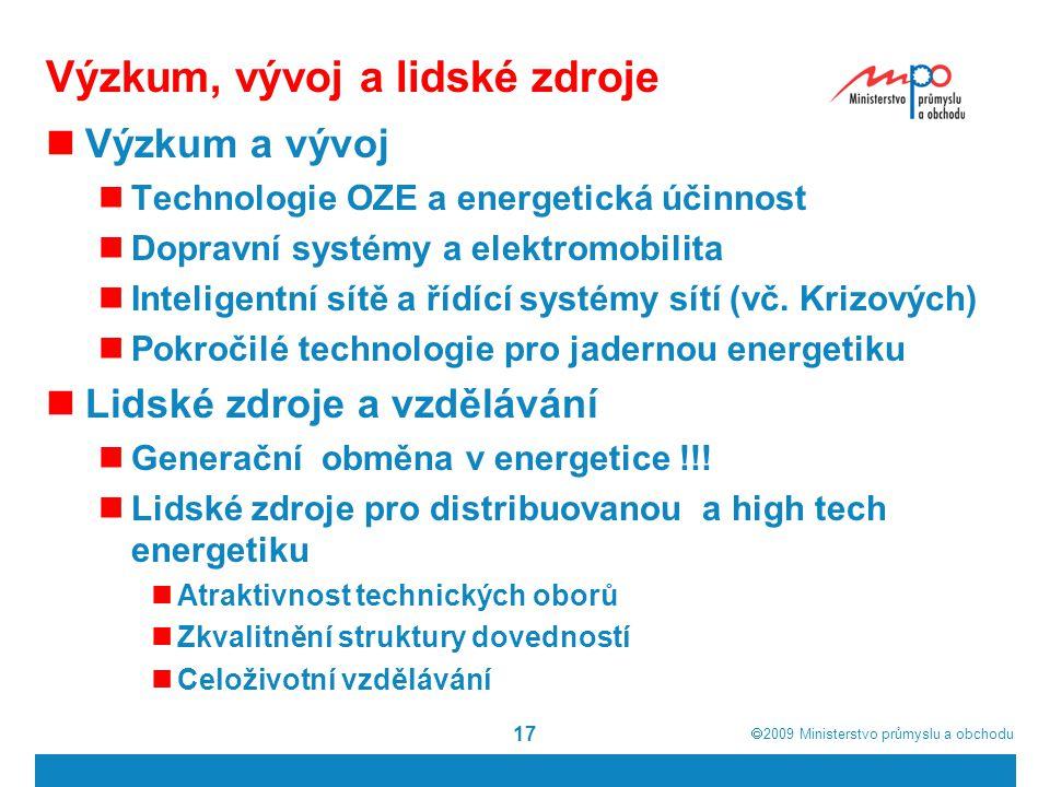  2009  Ministerstvo průmyslu a obchodu 17 Výzkum, vývoj a lidské zdroje Výzkum a vývoj Technologie OZE a energetická účinnost Dopravní systémy a elektromobilita Inteligentní sítě a řídící systémy sítí (vč.