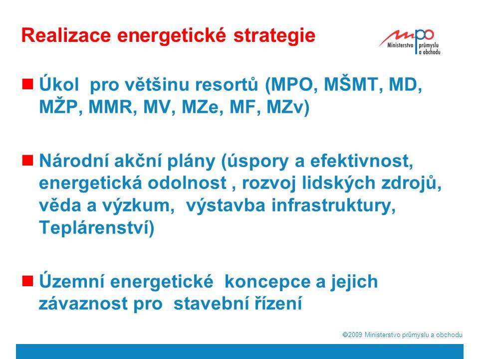  2009  Ministerstvo průmyslu a obchodu Realizace energetické strategie Úkol pro většinu resortů (MPO, MŠMT, MD, MŽP, MMR, MV, MZe, MF, MZv) Národní akční plány (úspory a efektivnost, energetická odolnost, rozvoj lidských zdrojů, věda a výzkum, výstavba infrastruktury, Teplárenství) Územní energetické koncepce a jejich závaznost pro stavební řízení