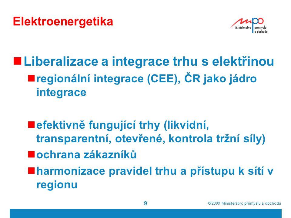  2009  Ministerstvo průmyslu a obchodu 9 Elektroenergetika Liberalizace a integrace trhu s elektřinou regionální integrace (CEE), ČR jako jádro integrace efektivně fungující trhy (likvidní, transparentní, otevřené, kontrola tržní síly) ochrana zákazníků harmonizace pravidel trhu a přístupu k sítí v regionu