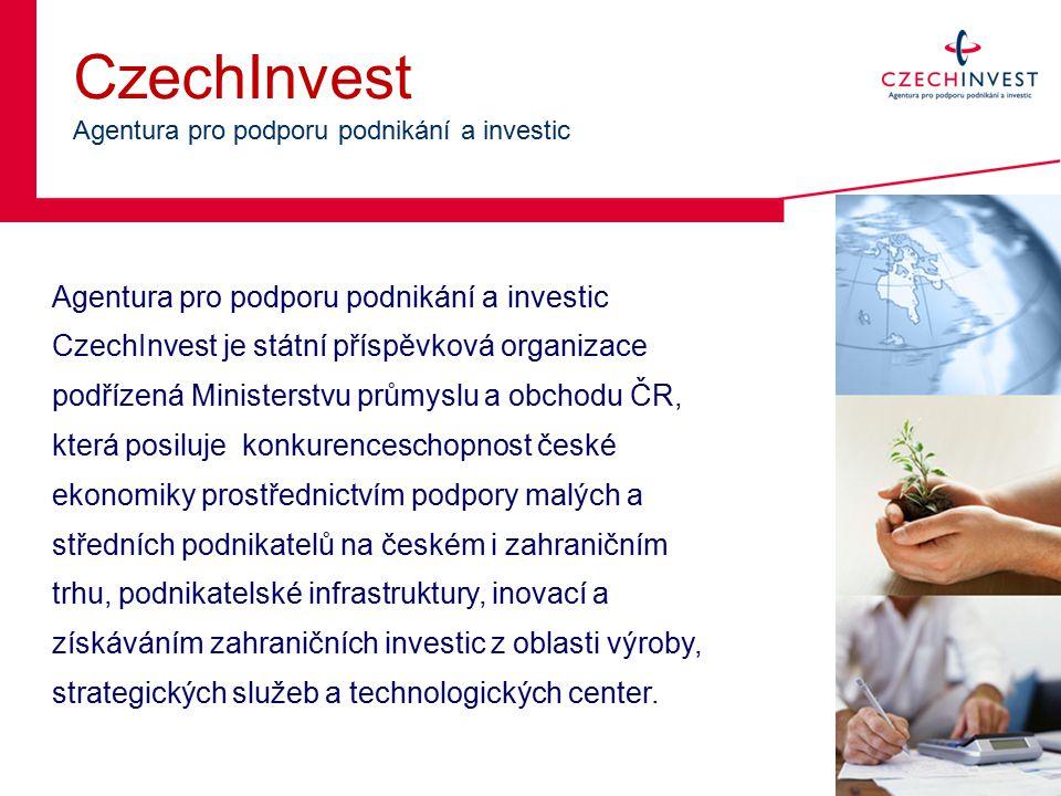 CzechInvest Agentura pro podporu podnikání a investic Agentura pro podporu podnikání a investic CzechInvest je státní příspěvková organizace podřízená Ministerstvu průmyslu a obchodu ČR, která posiluje konkurenceschopnost české ekonomiky prostřednictvím podpory malých a středních podnikatelů na českém i zahraničním trhu, podnikatelské infrastruktury, inovací a získáváním zahraničních investic z oblasti výroby, strategických služeb a technologických center.