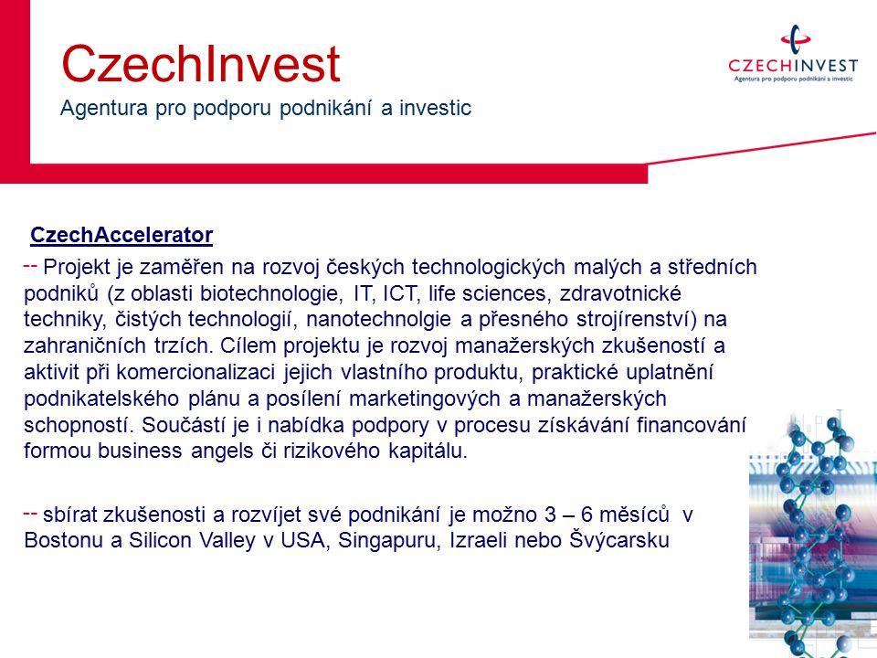 CzechInvest Agentura pro podporu podnikání a investic CzechAccelerator ╌ Projekt je zaměřen na rozvoj českých technologických malých a středních podniků (z oblasti biotechnologie, IT, ICT, life sciences, zdravotnické techniky, čistých technologií, nanotechnolgie a přesného strojírenství) na zahraničních trzích.