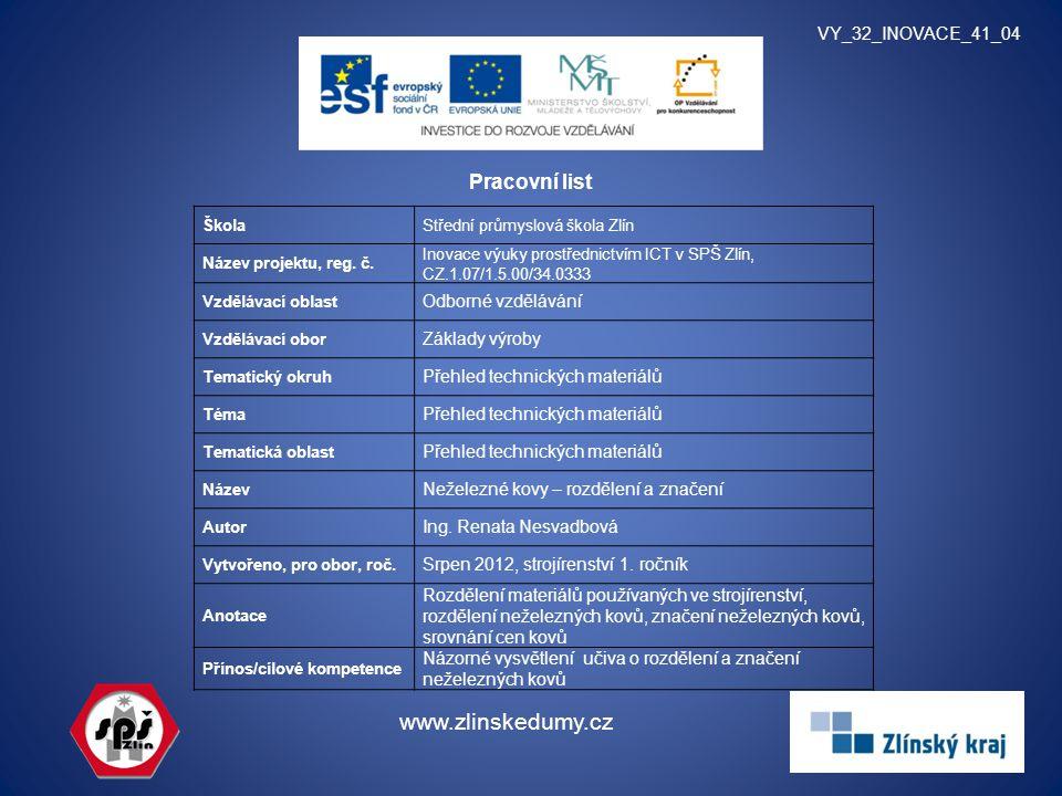 Pracovní list VY_32_INOVACE_41_04 www.zlinskedumy.cz ŠkolaStřední průmyslová škola Zlín Název projektu, reg. č. Inovace výuky prostřednictvím ICT v SP
