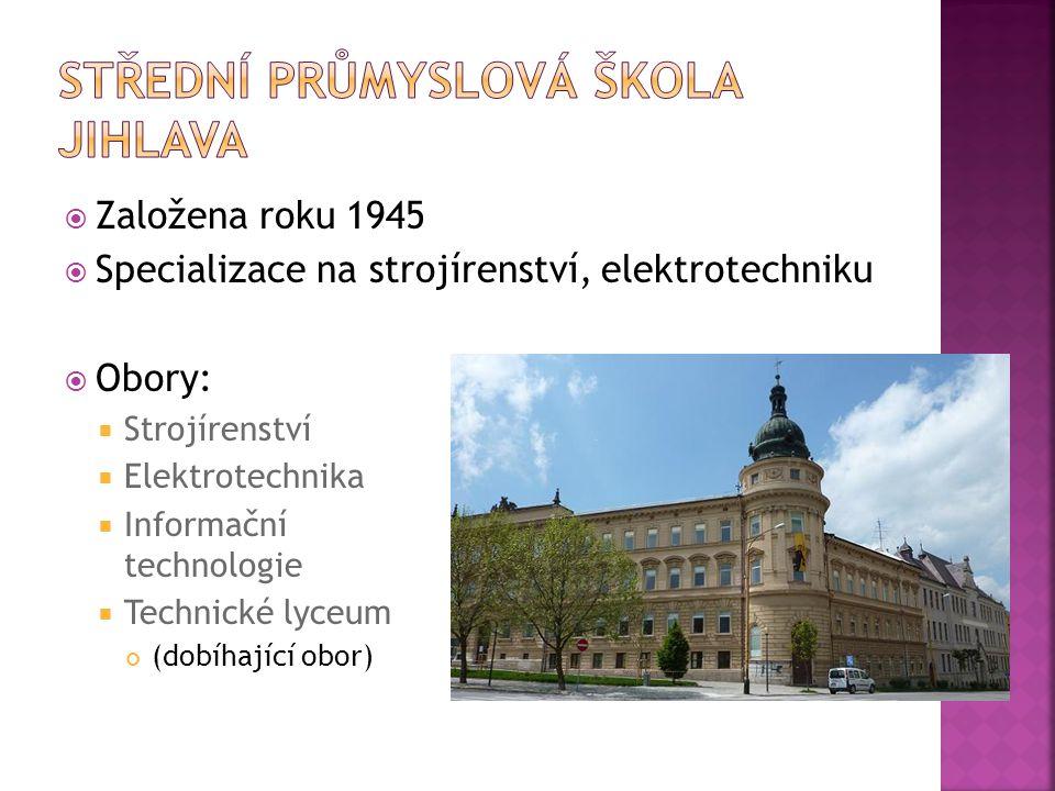  Založena roku 1945  Specializace na strojírenství, elektrotechniku  Obory:  Strojírenství  Elektrotechnika  Informační technologie  Technické lyceum (dobíhající obor)