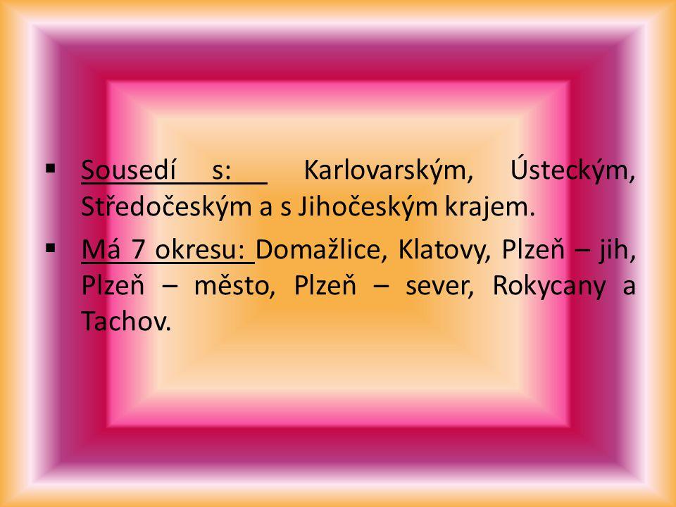  Sousedí s: Karlovarským, Ústeckým, Středočeským a s Jihočeským krajem.