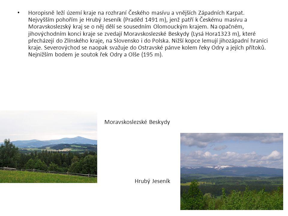Horopisně leží území kraje na rozhraní Českého masívu a vnějších Západních Karpat. Nejvyšším pohořím je Hrubý Jeseník (Praděd 1491 m), jenž patří k Če