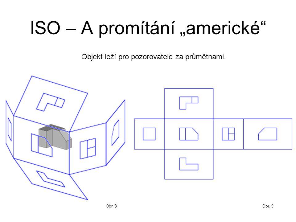 """ISO – A promítání """"americké Obr. 9Obr. 8 Objekt leží pro pozorovatele za průmětnami."""