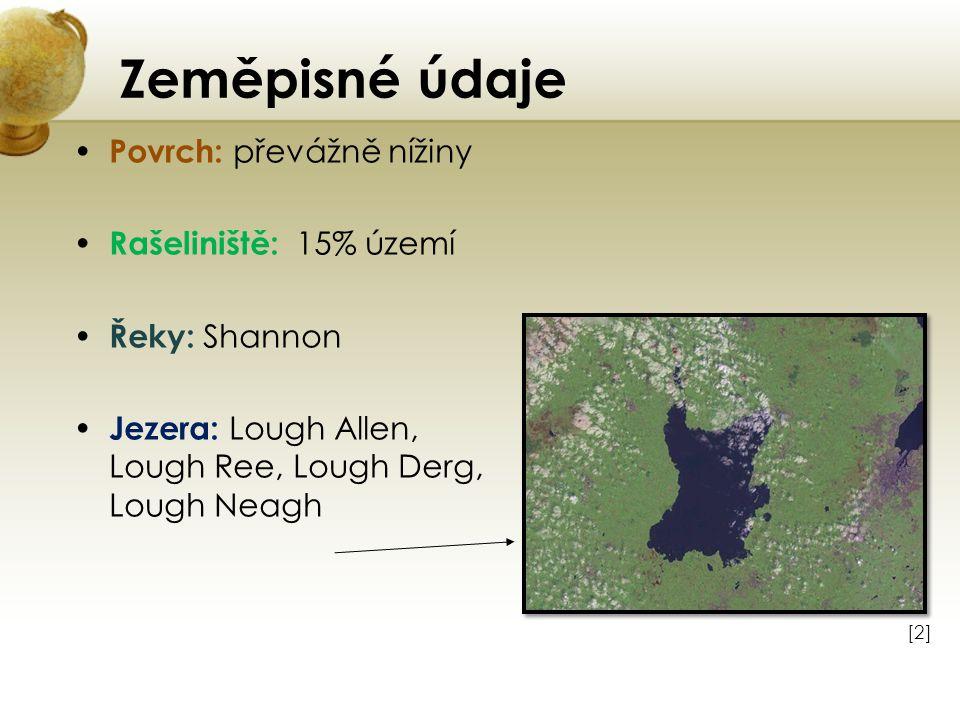 Zeměpisné údaje Povrch: převážně nížiny Rašeliniště: 15% území Řeky: Shannon Jezera: Lough Allen, Lough Ree, Lough Derg, Lough Neagh [2][2]